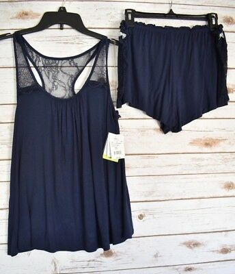 Pip & Vine by Rosie Pope Womens Sleepwear Pajama Set Navy Blue Size Large - NEW