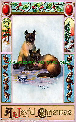 1915 Art Nouveau Border~Bells~Siamese Cats~O.Billinger~ NEW Christmas Note Cards