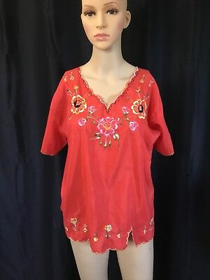 Authentic Mexican Blouse Hand Embroidered Red Floral Size Med
