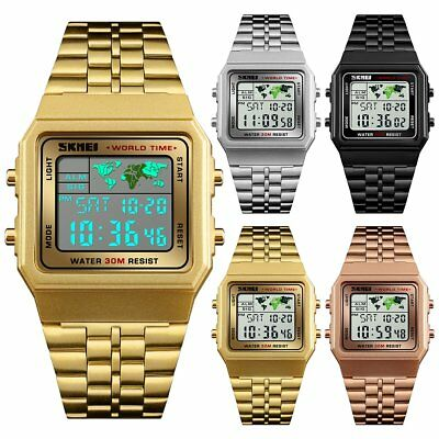 SKMEI Sport Stainless Steel Men Watch 5ATM Waterproof LED Digital Wristwatch
