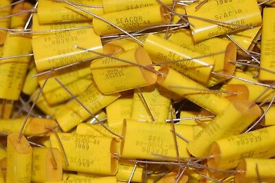 10 Seacor 1uf 400 Volt 5% metalized mylar capacitors 400 V NOS