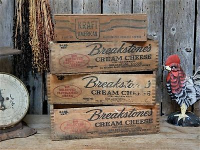 4 VINTAGE PRIMITIVE Wood Cheese Crate Box Dairy Farm Advertising Lot