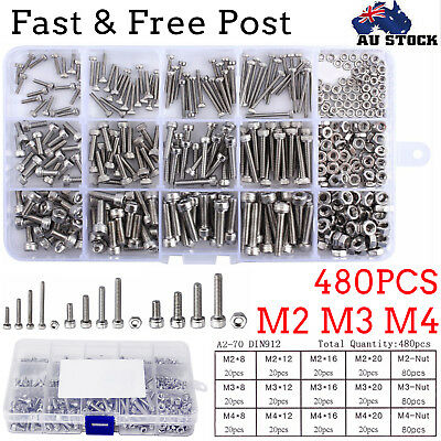 480PCS Stainless Steel Hex Socket Cap Head Bolts Screws Nuts Kit M2 M3 M4 AU