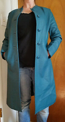 VTG* 1960's Mod* teal green leather coat* Small* modern*go go* kitsch *rare*