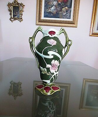 """Antique French Majolica Art Nouveau Vase W/ Handles 8.5"""" Tall; Marked"""