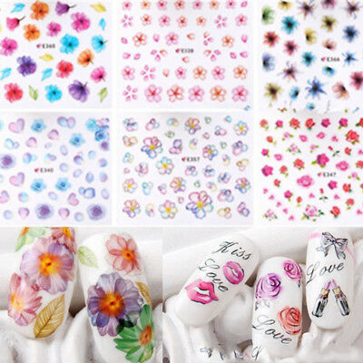 50 Sheets Mixed 3D Flower Nail Art Stickers Water Transfer Decal DIY Manicure Ac
