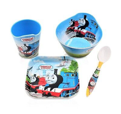Finex Set of 4 Blue Thomas the Train Kids Mealtime Cup Bowl Plate with Spoon Boy