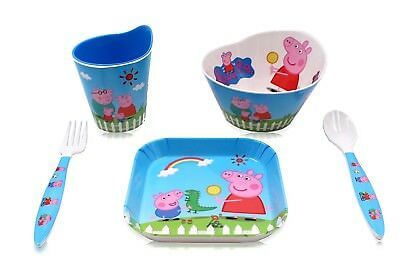 Finex Set of 5 Peppa Pig Meal Set - Cup Spoon Fork Bowl Plate for Kid Girls Boys