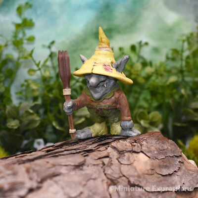 Miniature Fairy Garden EMILE TROLL WITH CATTAILS (NEW)