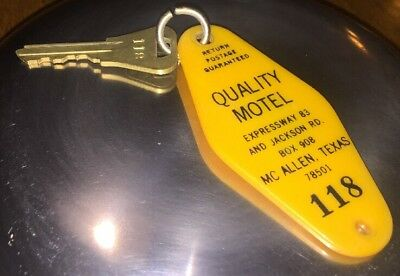 Vintage Lund Co. Fob Quality Inn Motel McAllen, Texas Yellow Fob/key #118