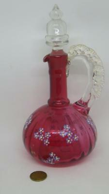 Victorian Cranberry Glass Decanter Frilled Handle Hand Painted Forget Me Nots