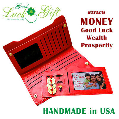 Feng Shui Wallet 2018 for woman red purse with coins crystals for money wealth