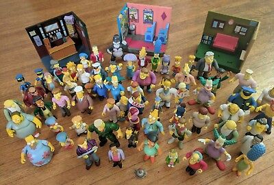 The Simpsons Interactive Playmates Lot With 68 Figures and 3 Dioramas.