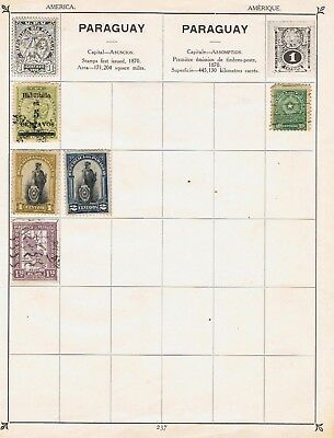 Paraguay 1910 to 1931 on 2 album pages 10 stamps Mint and Used