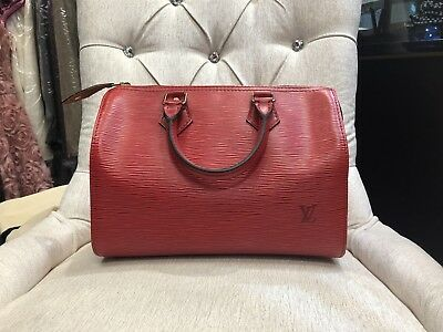 499ace616b Authentic Louis Vuitton Strawberry Speedy 30 Monogram Handbag Epi Leather  Red