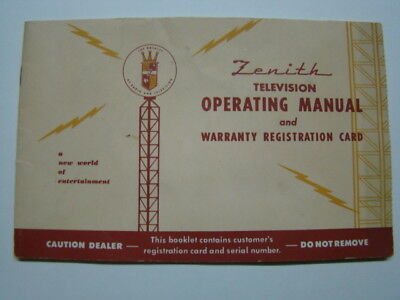 Zenith Television Operating Manual 19721973 Vintage 864 Picclick. Zenith Television Operating Manual Warranty Registration Card 1940's. Wiring. Zenith 5g03 Wiring Diagram At Scoala.co