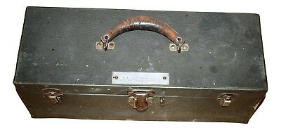 Tool Box WW2 Military Metal Chest Trunk Steel M5 Leather Handle Antique