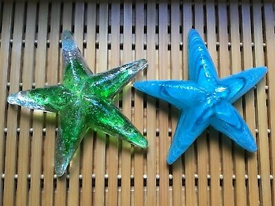 Two COLIN HEANEY art glass Starfish