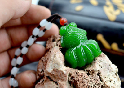 Fine Chinese natural jade hand-carved green goldfish good luck pendant amulet