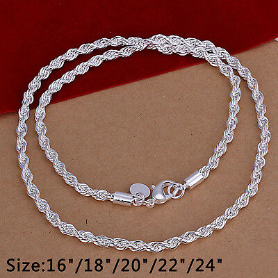 4mm Silver Sterling 925 Twisted Rope Chain Necklace Length