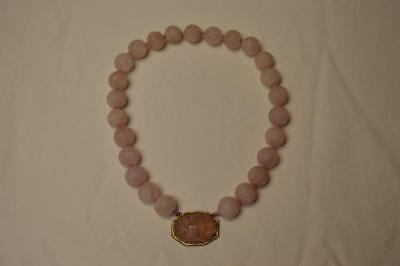 Antique Chinese Rose Quartz Carved Bead Necklace Choker 103.7 Grams 14Mm+ Beads