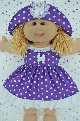 "Play n Wear Doll Clothes To Fit 16"" Cabbage Patch  PURPLE POLKA DOT DRESS~HAT"