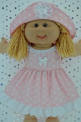 "Play n Wear Doll Clothes To Fit 16"" Cabbage Patch  PINK POLKA DOT DRESS~HAT"