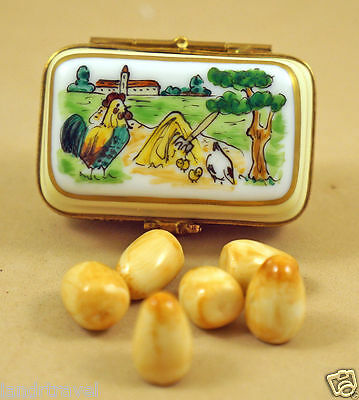 New French Limoges Trinket Box Egg Carton With All Removable Half A Dozen Eggs