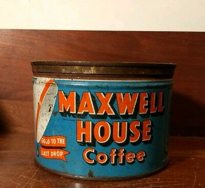 Rusty Maxwell House Coffee Tin with Lid - One Pound Size - Vintage Coffee Can