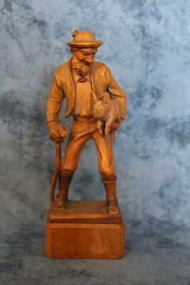 Antique Wood Carving Of A Man & Pig Non Branded Circa 1898
