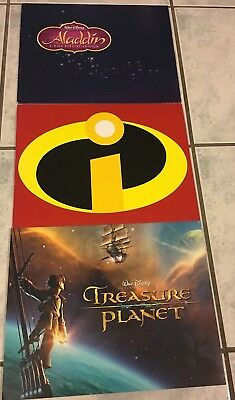 Disney Lot Of 12 Lithographs Aladdin, Incredibles, Treasure Planet New