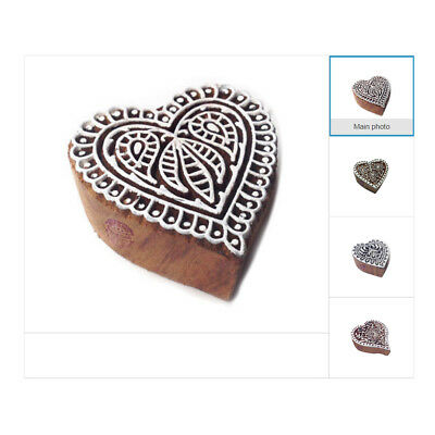 Heart Shape Wood Print Henna Blocks Indian Wooden Printing Fabric Textile Stamps