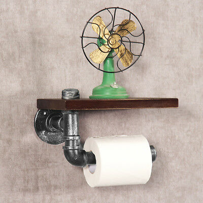 Industrial Silver Urban Rustic Iron Pipe Toilet Paper Roller Holder Wood Shelf