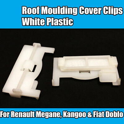 10x Clips For Renault Fiat White Roof Moulding Cover Clips Megane Kangoo Doblo