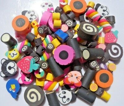Over 100 Mixed Fimo Polymer Clay Cakes, Sweets Beads, Animals, Fruit - Free P&P