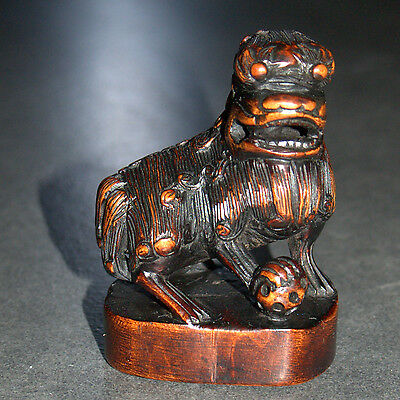 Old Chinese Fine Wood Hand Carving Fu Foo Dog Figurine Statue Figure