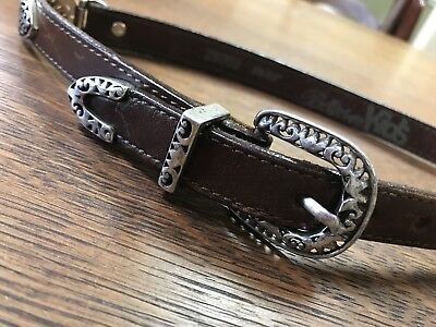 """Brighton Kids Brown Leather Belt Size XS/21"""" Little Girl Silver Hearts"""