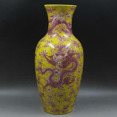 Great Chinese Antique Famille Rose Porcelain Dragon Vase