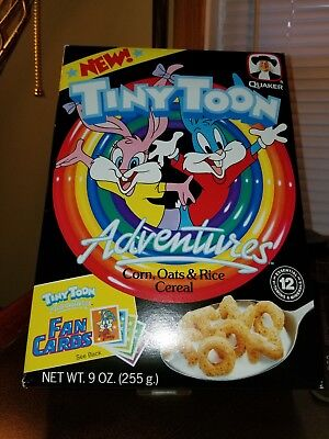 1990'S TINY TOONS ADVENTURES FLAT CEREAL BOX WARNER BROS FAN CARDS 9 oz QUAKER