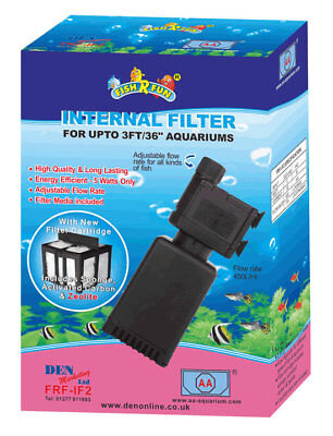 Fish R Fun Internal Fish Tank Aquarium Filter Pump & Media 3 Sizes