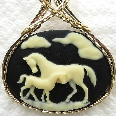 Horse Mare Colt Cameo Pendant 14K Rolled Gold Animal Jewelry Black Resin