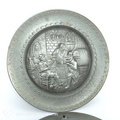 "Vintage Pewter Decorative Wall Hanging Plate 9"" Diameter"