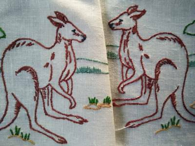 Pair Australian Red Kangaroos ~ Vintage Hand Embroidered doilies -needs edges