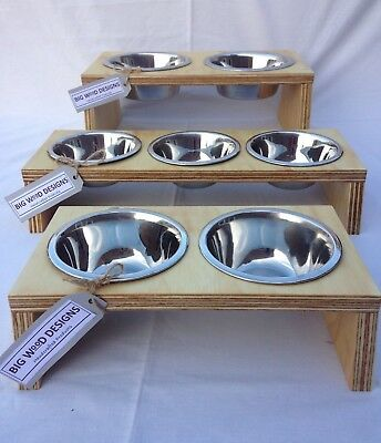 HANDMADE Raised Cat or Dog Feeder with Stainless Steel Bowls - Unique Design