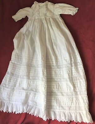 "Vintage White Christening Gown Cotton Long 48"" Chest 88"" Length"