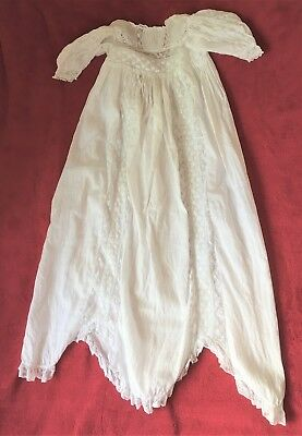 "Vintage White Christening Gown Cotton Long 48"" Chest 90"" Scallop Length"