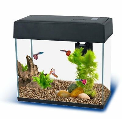 Fish R Fun FRF-270 Rectangular Slim Fish Tank Aquarium Starter Kit White Black