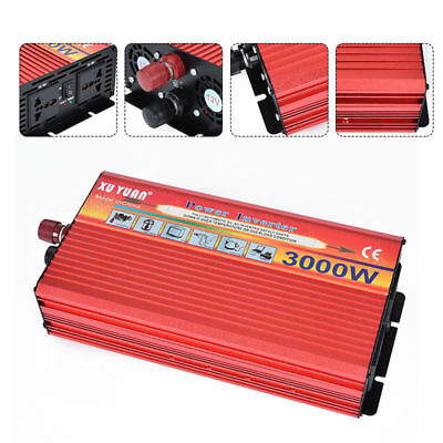 3000W Solar Power Inverter Cool Converter DC 12V To AC 110V With USB Charger
