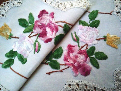Gorgeous Pink Roses & Buds ~ Vintage Hand Embroidered Centrepiece