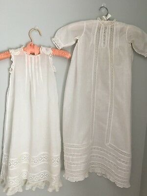 """Antique Victorian Lace with Tucks Baby Christening Gown & Slip - 31"""" Long"""